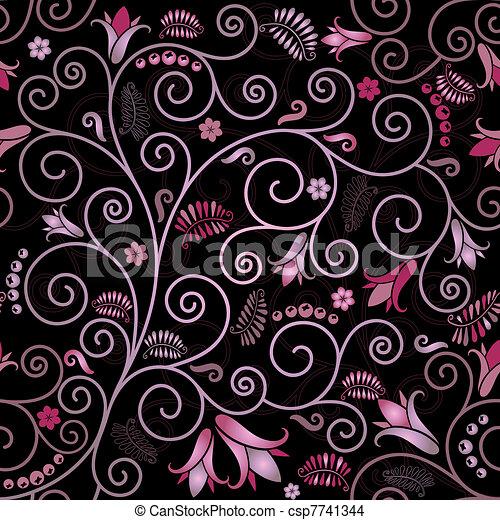modèle floral, noir, seamless - csp7741344