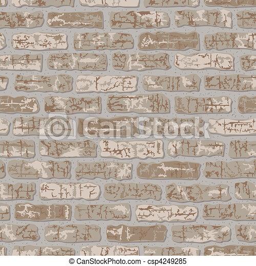 modèle, grungy, beige, brique - csp4249285