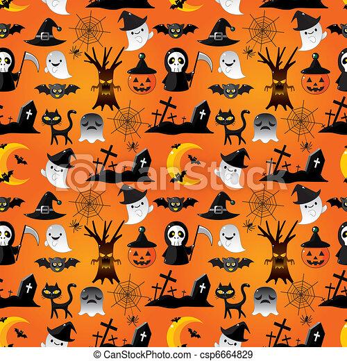 modèle, halloween, dessin animé, seamless - csp6664829