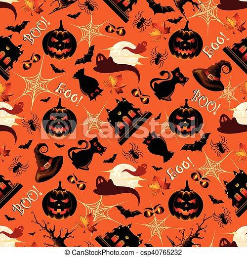 modèle, halloween, retro, fond, seamless - csp40765232