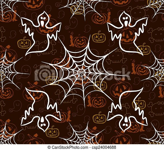 modèle, halloween, seamless, toile - csp24004688