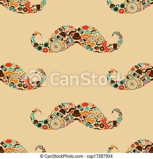 modèle, hipster, moustache, coloré, seamless - csp17287934