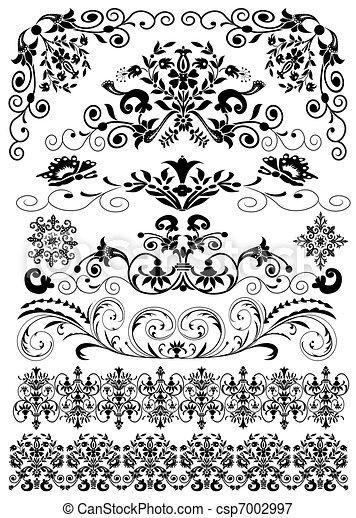 modèle, isolé, ensemble, noir, symétrique - csp7002997