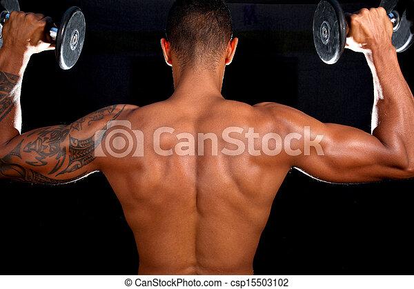 modèle, mâle, musculaire, fitness - csp15503102