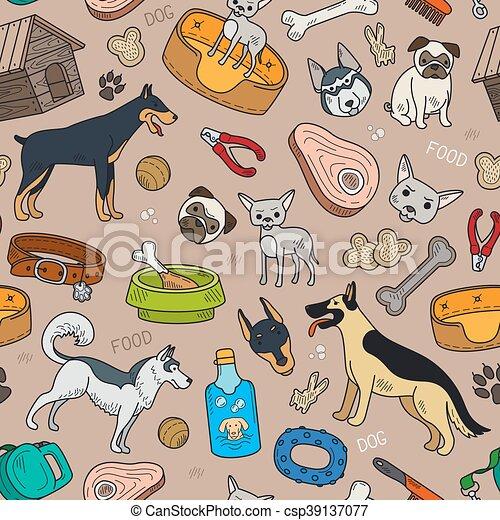 modèle, mignon, chien, seamless - csp39137077