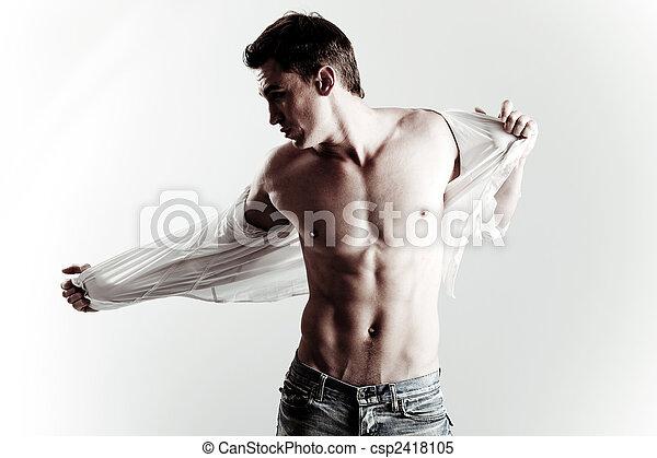modèle, mode, coup, jeune, mâle - csp2418105