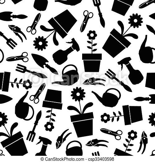modèle, outils, jardin, seamless - csp33403598