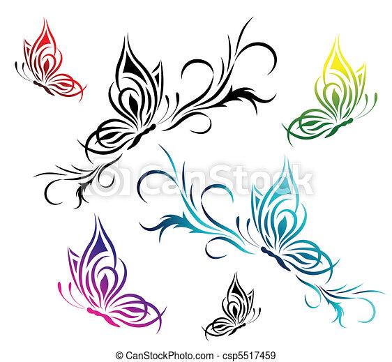 Mod le papillons fleur tatouage papillons ensemble mod le fleur - Modele de papillon ...