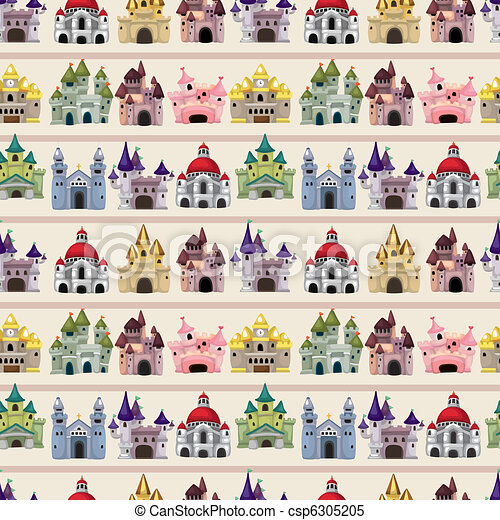 modèle, seamless, dessin animé, conte, château, fée - csp6305205