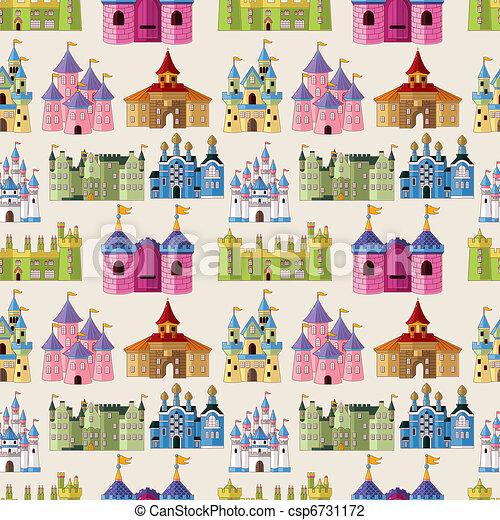 modèle, seamless, dessin animé, conte, château, fée - csp6731172