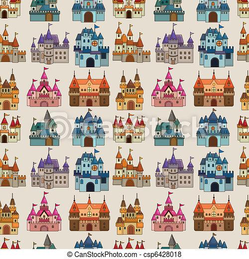 modèle, seamless, dessin animé, conte, château, fée - csp6428018