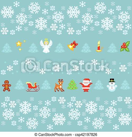 Modèle Style Seamless Noël Pixel Art