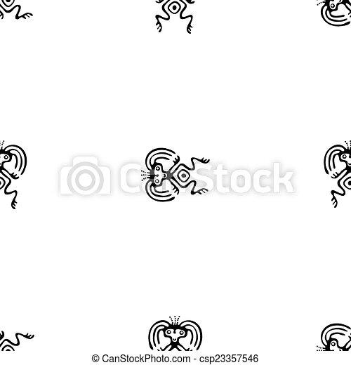 modèle, tribal, vecteur, noir, ethnique - csp23357546