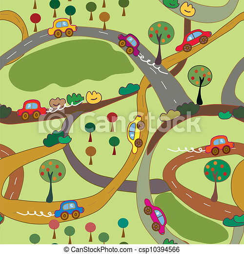 Mod le voitures seamless pays routes dessin anim - Modele dessin voiture ...