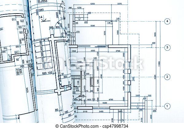 Modèles, Roulé, Maison, Plan, Architectural, Rénovation   Csp47998734