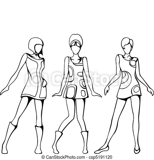 mod girls sketch sketch of three women in 1960 s mod dresses 1970s Teenage Girls Fashion Dress mod girls sketch csp5191120