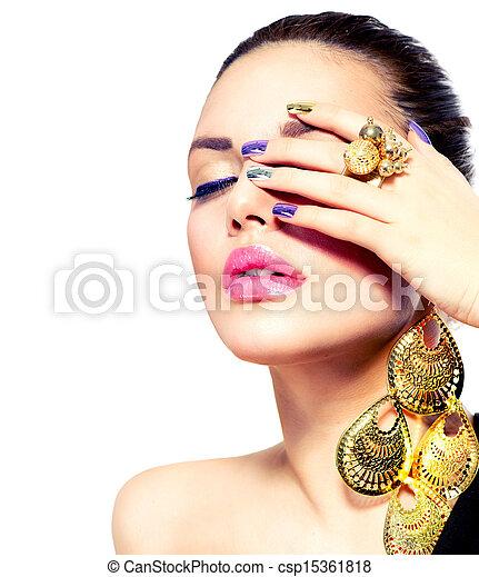 moda, arte, manicura, beauty., clavo, make-up. - csp15361818