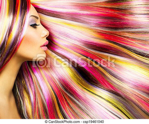 moda, beleza, coloridos, cabelo tingido, modelo, menina - csp19461040
