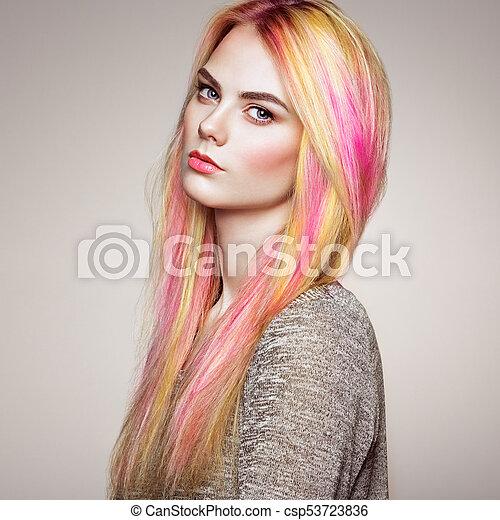 moda, beleza, coloridos, cabelo tingido, modelo, menina - csp53723836