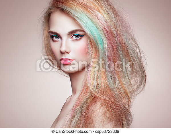 moda, beleza, coloridos, cabelo tingido, modelo, menina - csp53723839