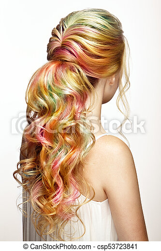 moda, beleza, coloridos, cabelo tingido, modelo, menina - csp53723841