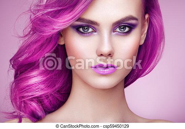 moda, beleza, coloridos, cabelo tingido, modelo, menina - csp59450129