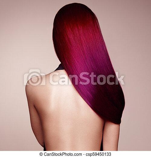 moda, beleza, coloridos, cabelo tingido, modelo, menina - csp59450133