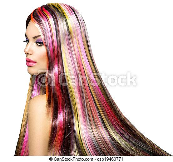 moda, beleza, coloridos, cabelo tingido, modelo, menina - csp19460771