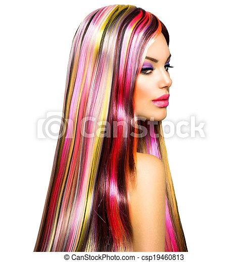 moda, beleza, coloridos, cabelo tingido, modelo, menina - csp19460813