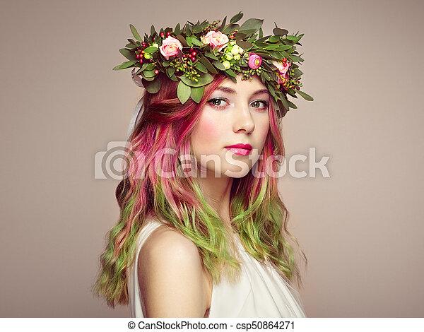 moda, beleza, coloridos, cabelo tingido, modelo, menina - csp50864271