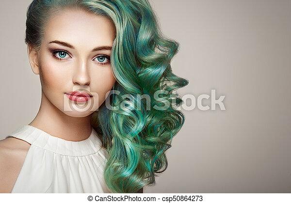 moda, beleza, coloridos, cabelo tingido, modelo, menina - csp50864273