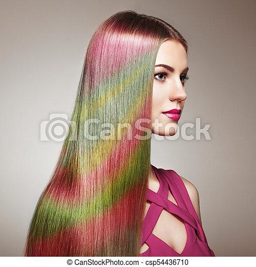 moda, beleza, coloridos, cabelo tingido, modelo, menina - csp54436710