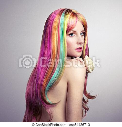 moda, beleza, coloridos, cabelo tingido, modelo, menina - csp54436713