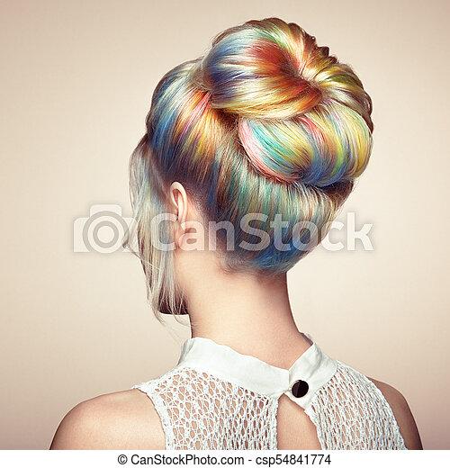 moda, beleza, coloridos, cabelo tingido, modelo, menina - csp54841774