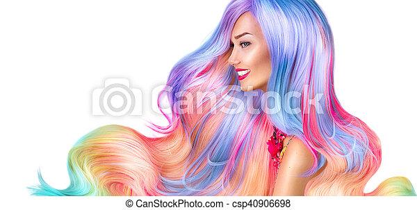 moda, beleza, coloridos, cabelo tingido, modelo, menina - csp40906698