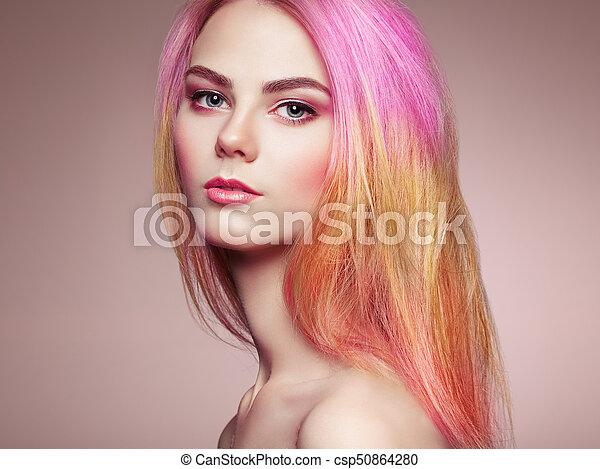moda, beleza, coloridos, cabelo tingido, modelo, menina - csp50864280
