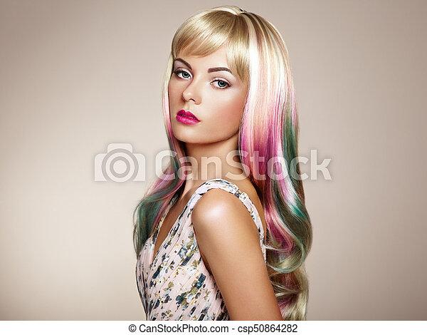 moda, beleza, coloridos, cabelo tingido, modelo, menina - csp50864282