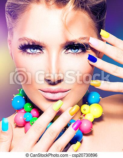 moda, beleza, coloridos, pregos, modelo, menina - csp20730896