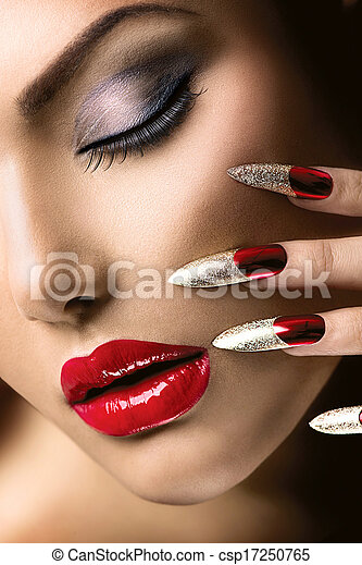 moda, beleza, girl., manicure, maquiagem, modelo - csp17250765