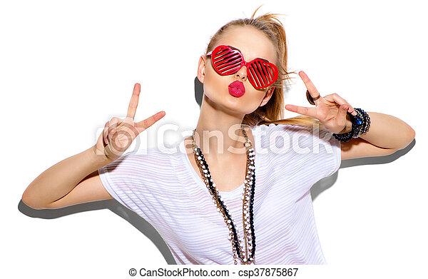 moda, beleza, isolado, menina, mulher, posar, white., elegante, loiro, modelo - csp37875867