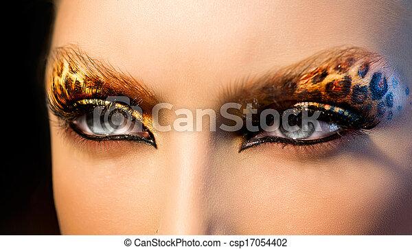 moda, beleza, maquilagem, leopardo, modelo, feriado, menina - csp17054402