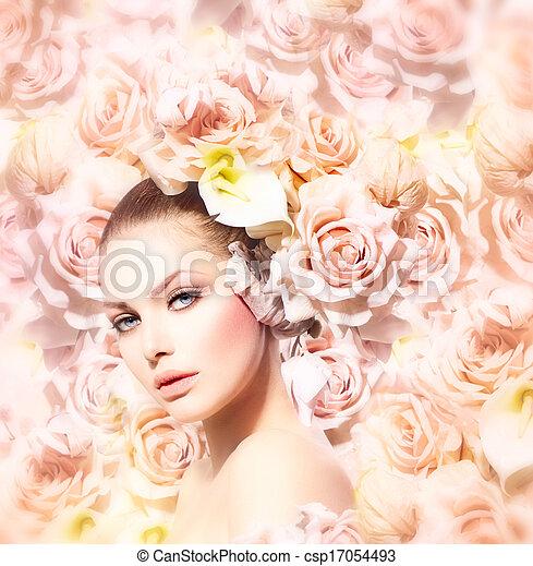 moda, beleza, noiva, hair., modelo, flores, menina - csp17054493