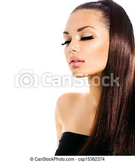 moda, beleza, saudável, cabelo longo, modelo, menina - csp15362374