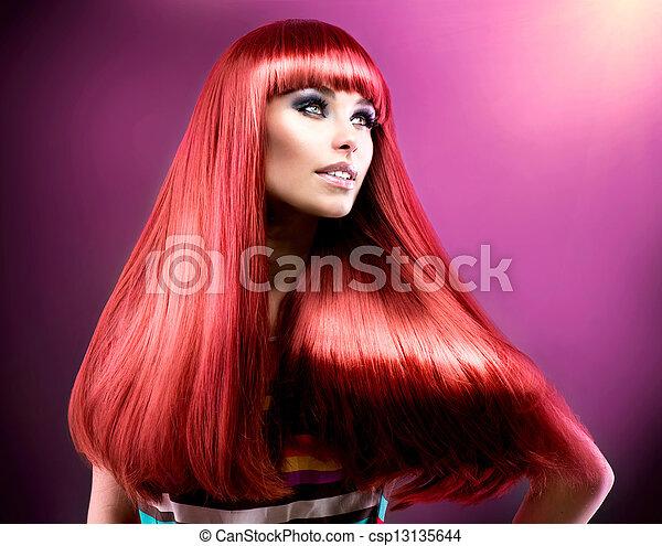 moda, beleza, saudável, direito, longo, hair., modelo, vermelho - csp13135644