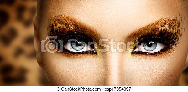 moda, belleza, maquillaje, leopardo, modelo, feriado, niña - csp17054397