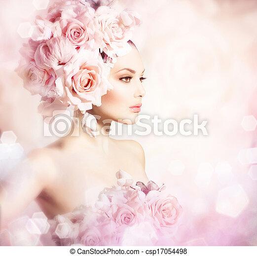 moda, belleza, novia, hair., modelo, flores, niña - csp17054498