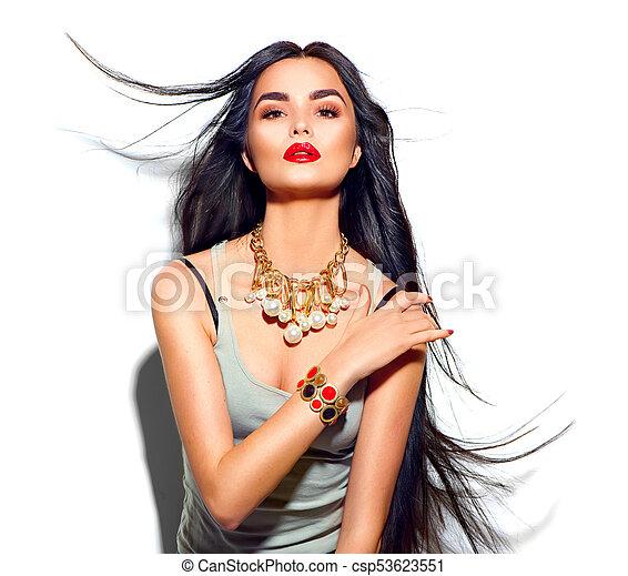 moda, bellezza, diritto, volare, capelli lunghi, modello, ragazza - csp53623551