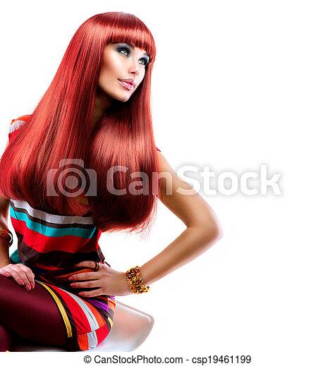 moda, bellezza, sano, diritto, lungo, hair., modello, ragazza, rosso - csp19461199