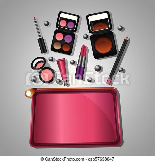 moda, bellezza, trucco, cosmetico, set, prodotti - csp57638647