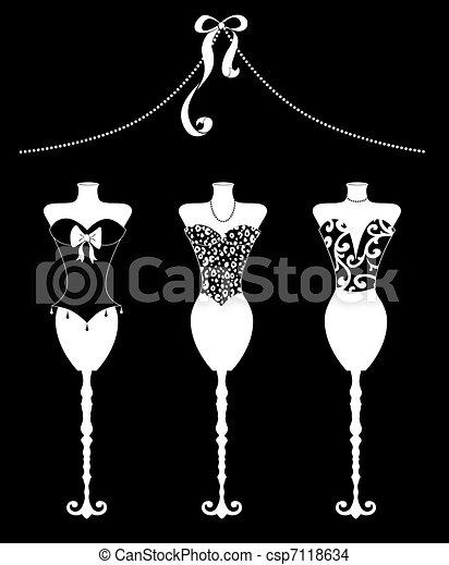 Vestidos de moda de Chic con bustiers blancos en negro - csp7118634
